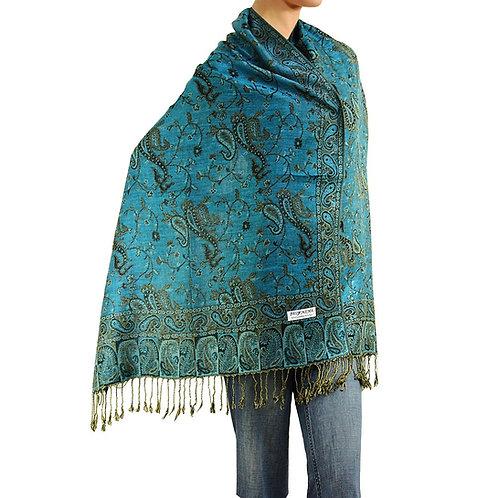 Turquoise Paisley Pashmina Scarf
