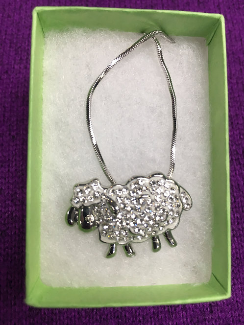 Rhinestone Sheep Pendant Necklace