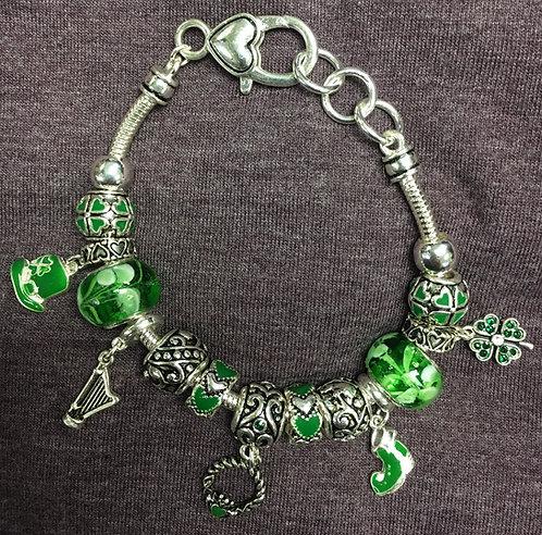 Harp-Claddagh Pandora-style charm bracelet