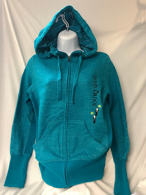 Turquoise Stripe Marble Full-Zip hoodie Junior Sizing