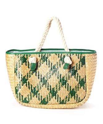 PATTERNED SEAGRASS HANDBAG WITH ROPE HANDLES