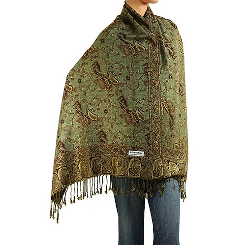 Olive/Brown Paisley Pashmina Scarf