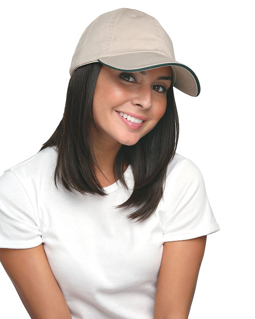 BA3617 Bayside (USA-made) Washed Cotton Unstructured Sandwich Cap