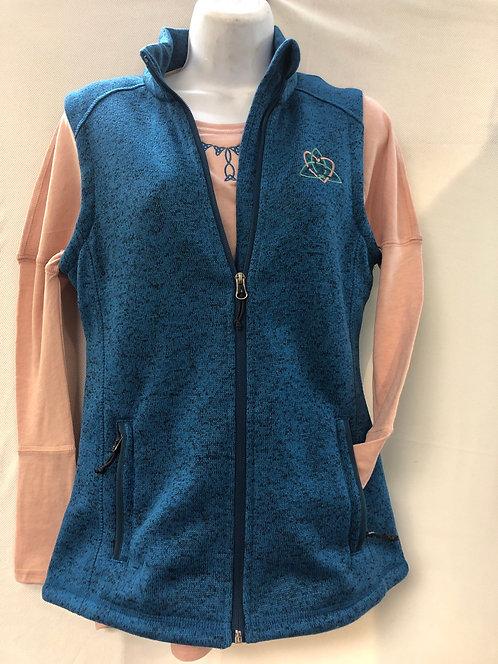 Peacock Blue Sweaterfleece Vest with Peach Flowy Shirt Ensemble