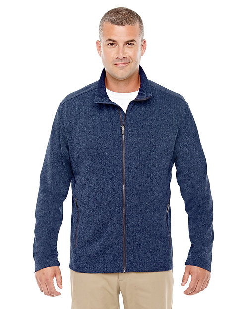 D885 Devon & Jones Men's Fairfield Herringbone Full-Zip Jacket