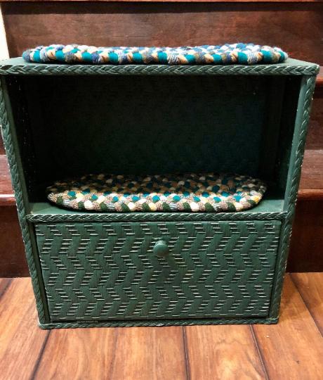 Green Wicker Shelf with hand-braided rug shelf liners