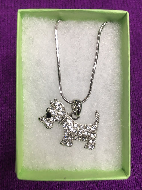 Scottie/Westie Rhinestone Pendant Necklace