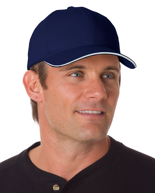 BA3621 w/Name on Back. Bayside (USA-made) Brushed Twill Structured Sandwich Cap