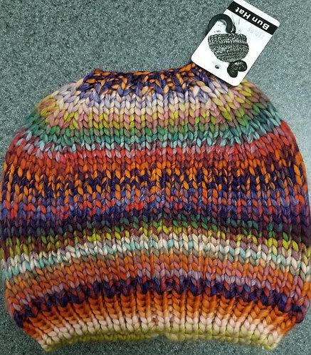 Multi-color Bun Winter Hat