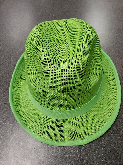 Straw Mesh Green Fedora Parade Hat