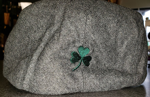 Wool Gray Driver Cap with Shamrock