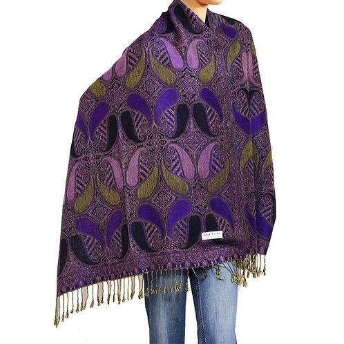 Purple/Olive/Black Paisley Pashmina Scarf