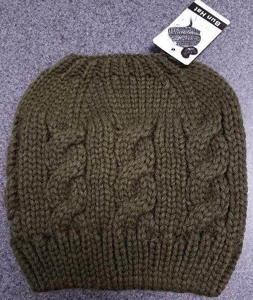 Olive Bun Winter Hat