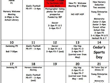 Cedar News - June Calendar