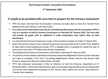 Post Primary Transfer Consortium Press Release