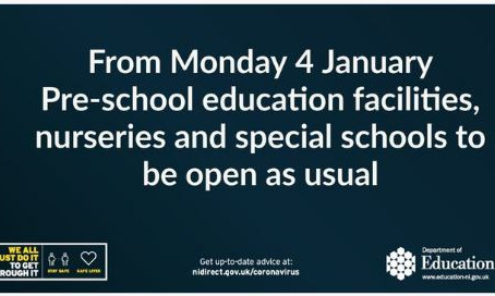 Pre-school, nurseries and special schools to open as usual next week.