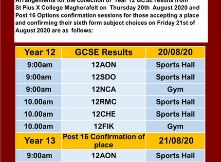 Arrangements for the collection of Year 12 GCSE results