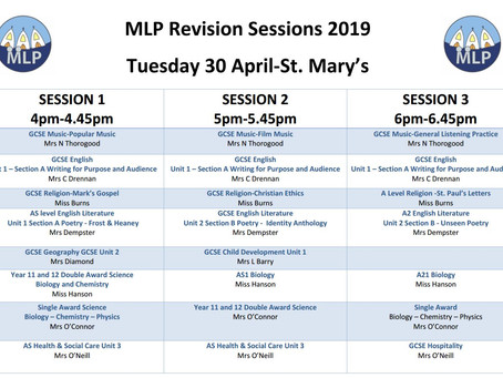 MLP Revision Programme Timetable