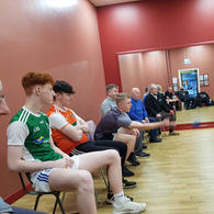 Year 13 boys playing boccia with members of Armagh Menshed as part of our Intergenerational Health & Wellbeing Programme in association with ABC Council.
