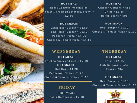 Canteen Menu: Week commencing 9th November