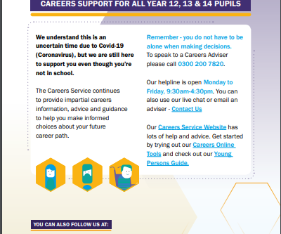 Careers Support for all Year 12, 13 and 14 pupils