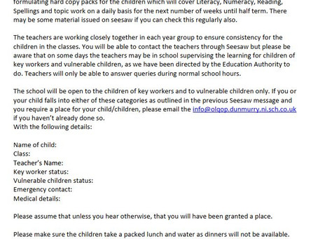 Letter re January Remote Learning