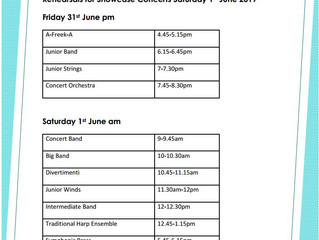 Rehearsals for Showcase Concerts Saturday 1st June 2019