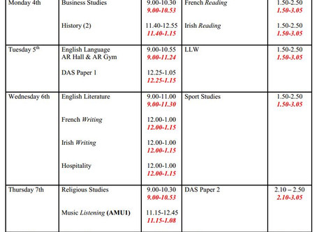KS4 Mock Exams Timetable