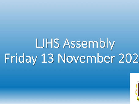 Lurgan JHS Assembly: 13th November 2020