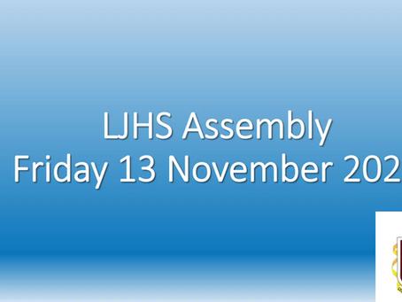 Lurgan JHS Assembly: 13th November 2020