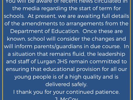 31st December: Announcement from Principal