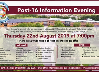 Post 16 Information Evening | Thursday 22nd August 7:00pm