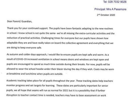 School Letter - 2nd October