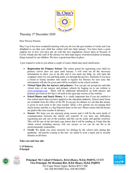 Letter to Nursery Parents