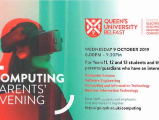 QUB Computing Parents' Evening - Wednesday 9 October 2019