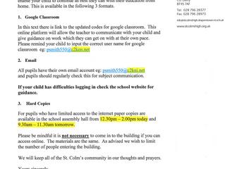 Principal's Letter RE School Closure