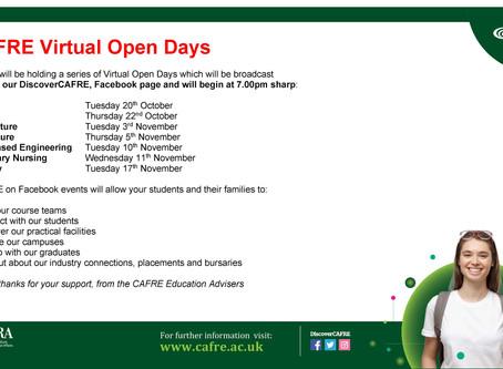 CAFRE Virtual Open Days Poster