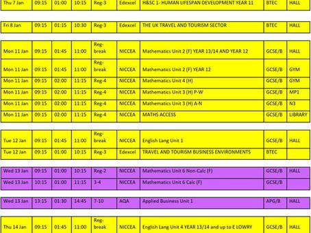 January External Examination Timetable
