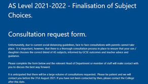 AS Level 2021-2022: Finalisation of Subject Choices - Consultation Request Form
