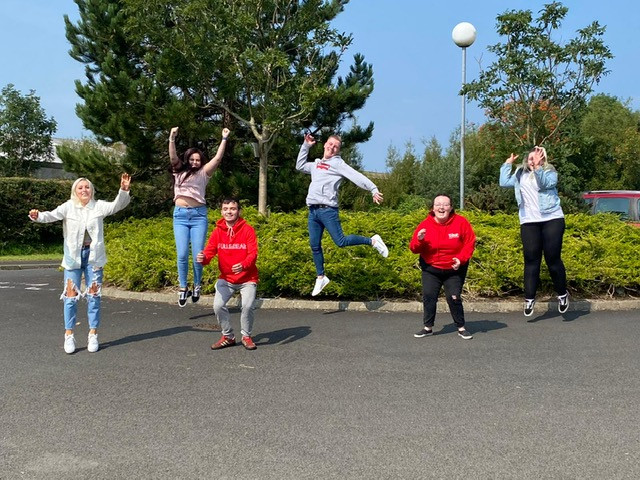 Aimee, Sophie, Scott, Brad, Grace and Caitlin , some of the many students who have been jumping for joy over their results today at North  Coast Integrated College.