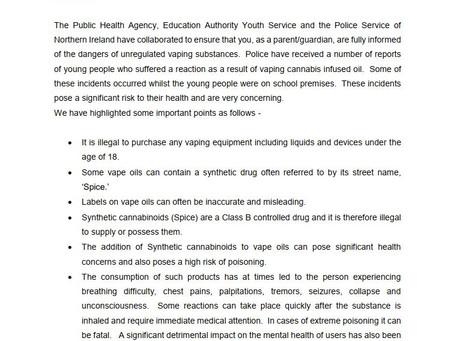 Vaping warning Parental Letter June 2021