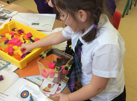 Rang 3 -P3 practical activities, measuring in Maths, painting in The World Around Us and putting