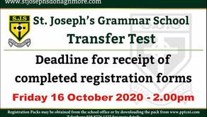 Transfer Test Deadline