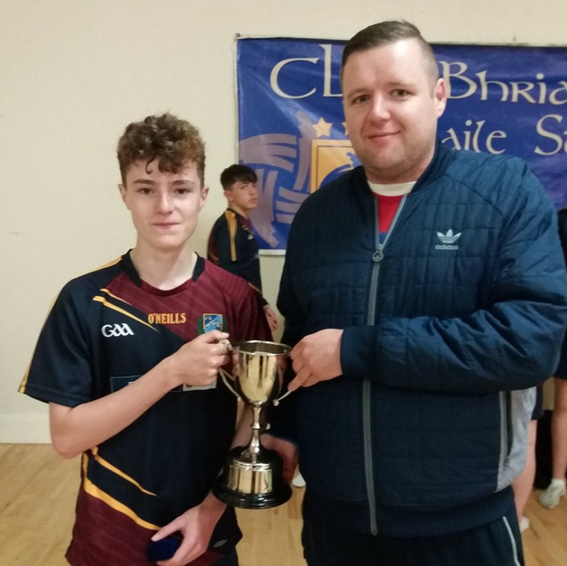 Fantastic day for Oakgrove College at the @BrianOgs 9s at Pairc Brid. Congratulations to the Under 14 Oakgrove College Gaelic Football Team on winning the B section, with captain Darragh Donaghy collecting the trophy.