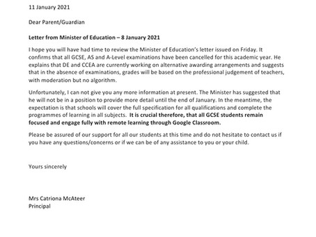 Principals letter to Year 11 & 12 Students