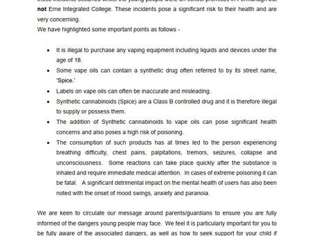 Letter for Parents - Vaping