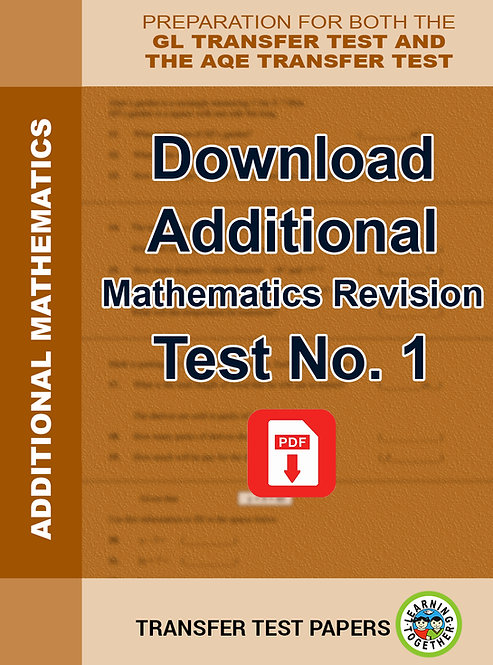 Download Additional Transfer Test Maths Revision.  Paper Number 1