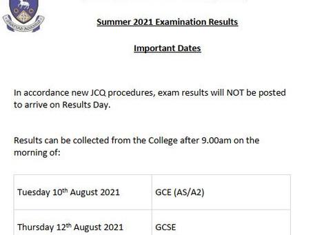 Summer 2021 Examination Results