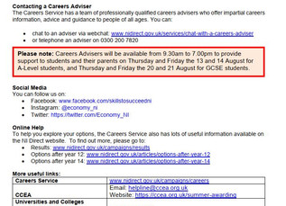 The Careers Service - Supporting Students & Parents at Results Time