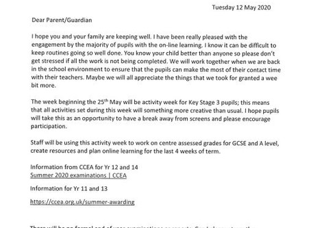 Information for Parents - 12 May 2020